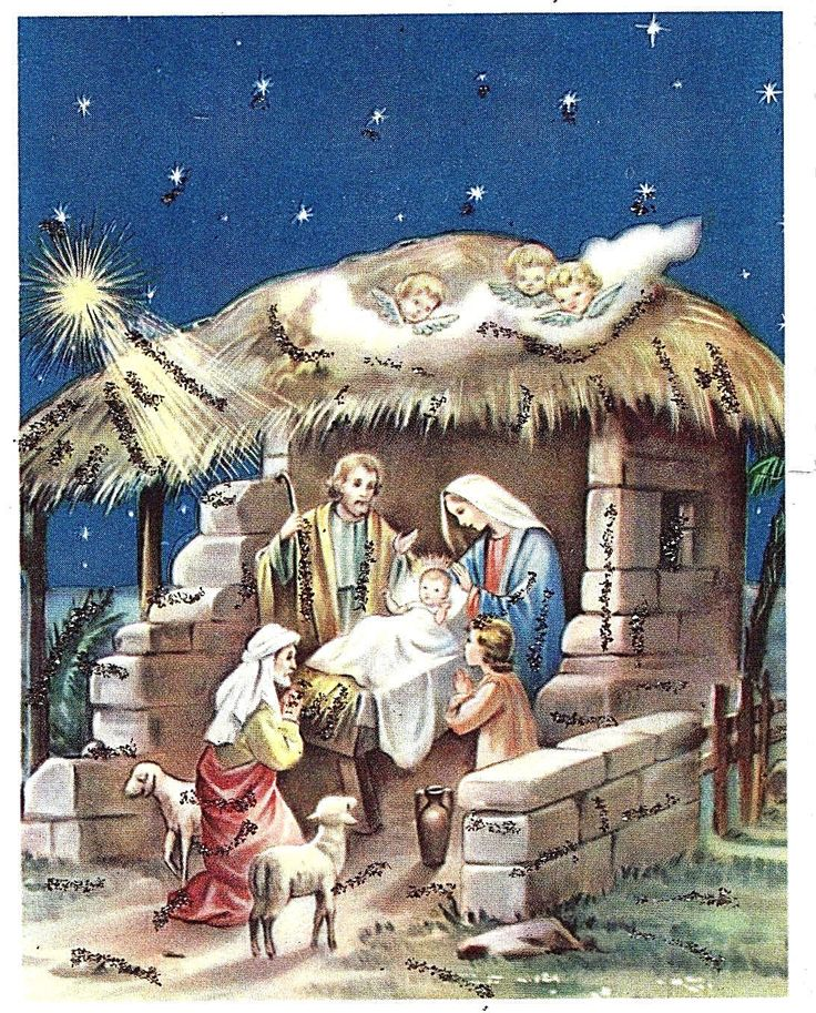 vintge-xmas-card-mica-glittered-nativity-manger-scene-3-angels-w-germany-unused-db08dafeb9ac85fa0707a55df122c575.jpg (1092×1356)