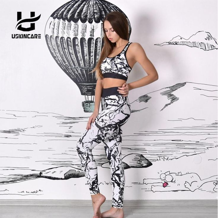 USKINCARE Floral Printed Women Yoga Set Splice Running Set Bra Leggings Sports Suit Vintage Sports Clothing Gym Tracksuit