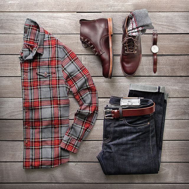 @thepacman82 | Sundays are a great day to run marathons….on Netflix.  Flannel: @jachsny Red and Grey Light Flannel Plaid Denim: @rogueterritory Boots: @rancourtco Belt: @bisonmade Socks: @americantrench Watch: @danielwellington #jachsny #collab #flatlay