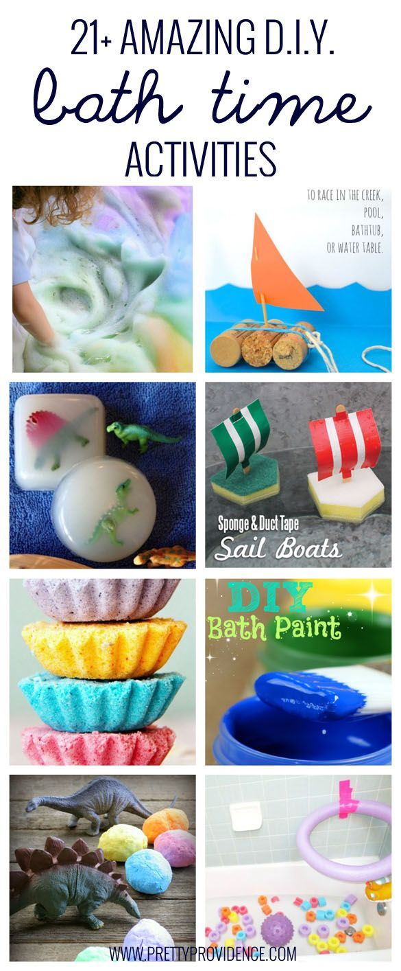 21+ Amazing DIY bath time activities! These are all so fun, cheap, and unique! A great way to break up the day when kids are cooped up because of illness or weather! Or just to make bath time extra fun!