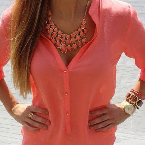 Best 25  Coral blouse ideas on Pinterest | Coral top outfit, Camel ...