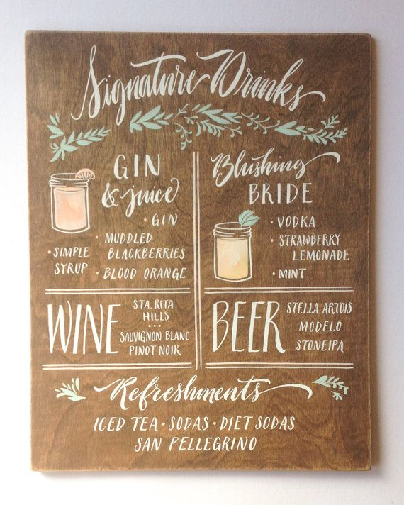 Say Cheers to one of the most important days in your life with this stunning and seriously beautiful custom drinks and bar menu sign! Hand painted sign with watercolor accents and subtle colors on walnut stained wood panel, a lot of love goes into this sign because it MEANS something to have a personalized drink sign at your wedding. Plus, this unique and timeless sign is also a nice little memory to take home, and display for years to come above the bar in your home. - Each Sign is Custom…