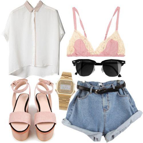 Oversized top / Marni bra / Denim jean shorts / Cacharel nude heels / American Apparel stainless steel digital watch
