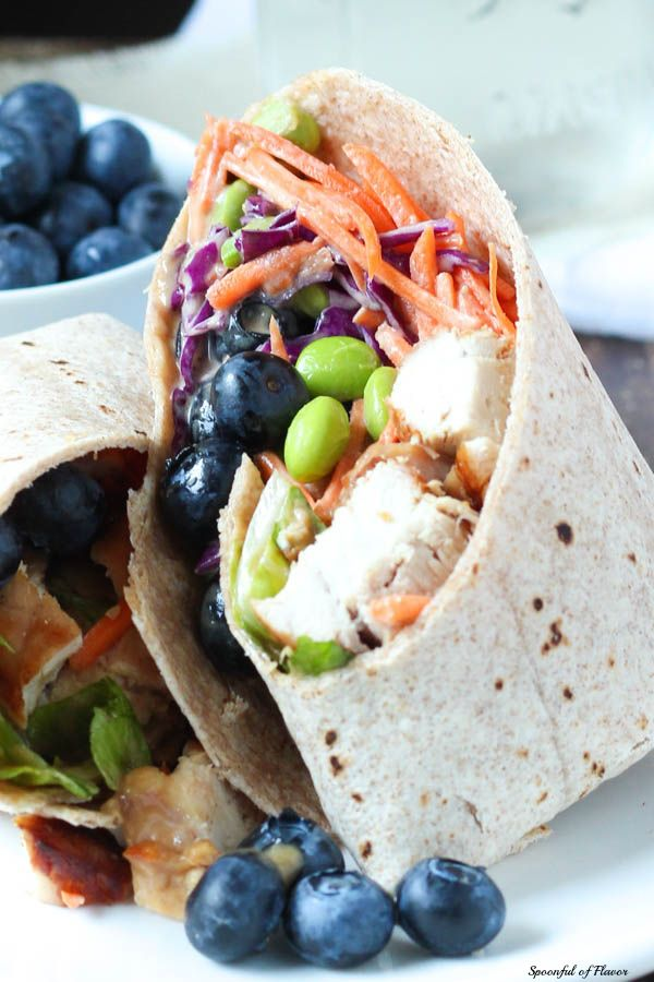 Thai Chicken Salad Wrap with Blueberries - just add blueberries to create a healthy, colorful and flavorful meal!