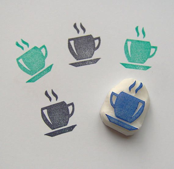Hand Carved Rubber Stamp for Block Printing on Paper Coffe Mug with Floral Detail Wood /& Fabric Handmade Stamp