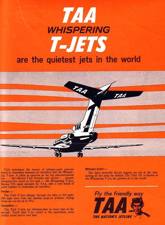 """TAA """"Whispering T-Jets,"""" 1960s. #taa #tjet #australia #1960s"""