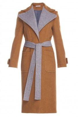 Kaszmirowy płaszcz kamelowo-szary