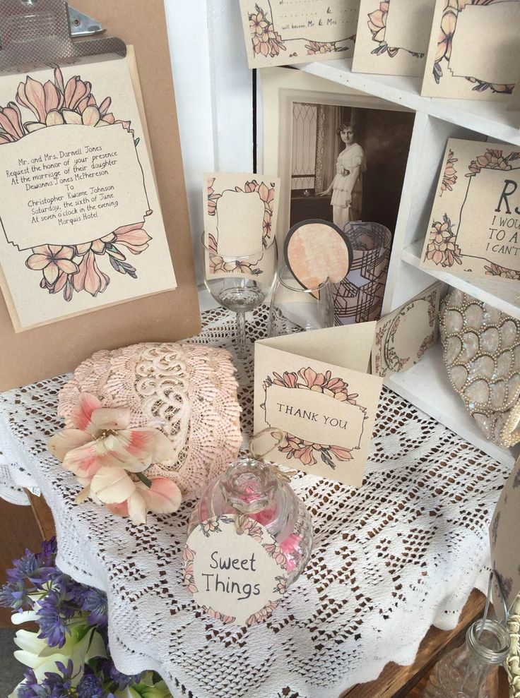 Have a wonderfully coordinated wedding with Monica Mcnab's invitation and accessories. This design Freesia from the Gatsby-1920's range