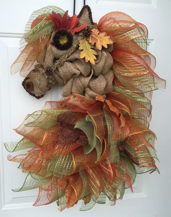 Autumn Leaves Horse Head Wreath by A Noble Touch by ANobleTouch