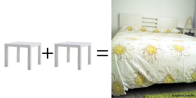Ikea-Hack: Un cabecero con dos mesas lack : x4duros.com