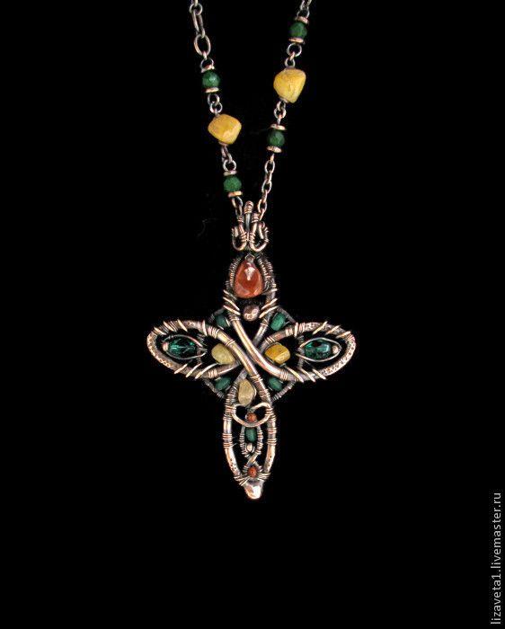 """Купить Кулон """" To Dublin"""" - кельтский крест, кельтика, четырехлистник, клевер"""