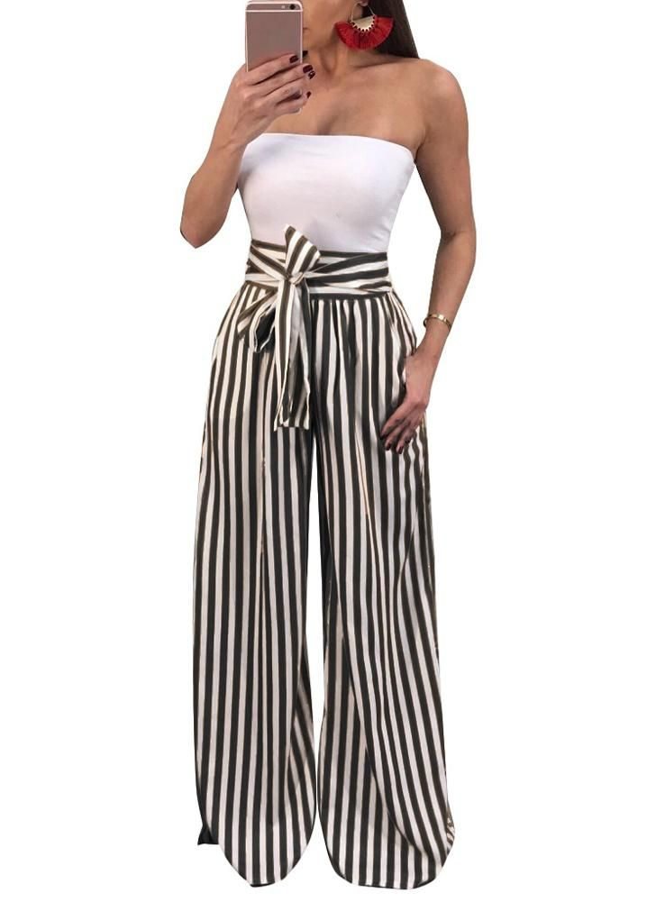 Womens Causal Straight Pants Trouses High Waist Wide Leg Loose Party Fashion