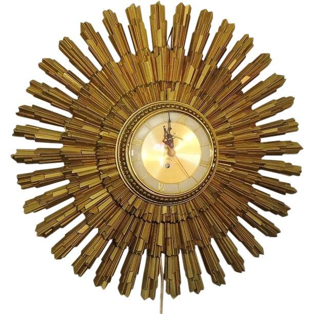 Retro Starburst Sunburst Clock c1965 Syroco from premier-antiques on Ruby Lane
