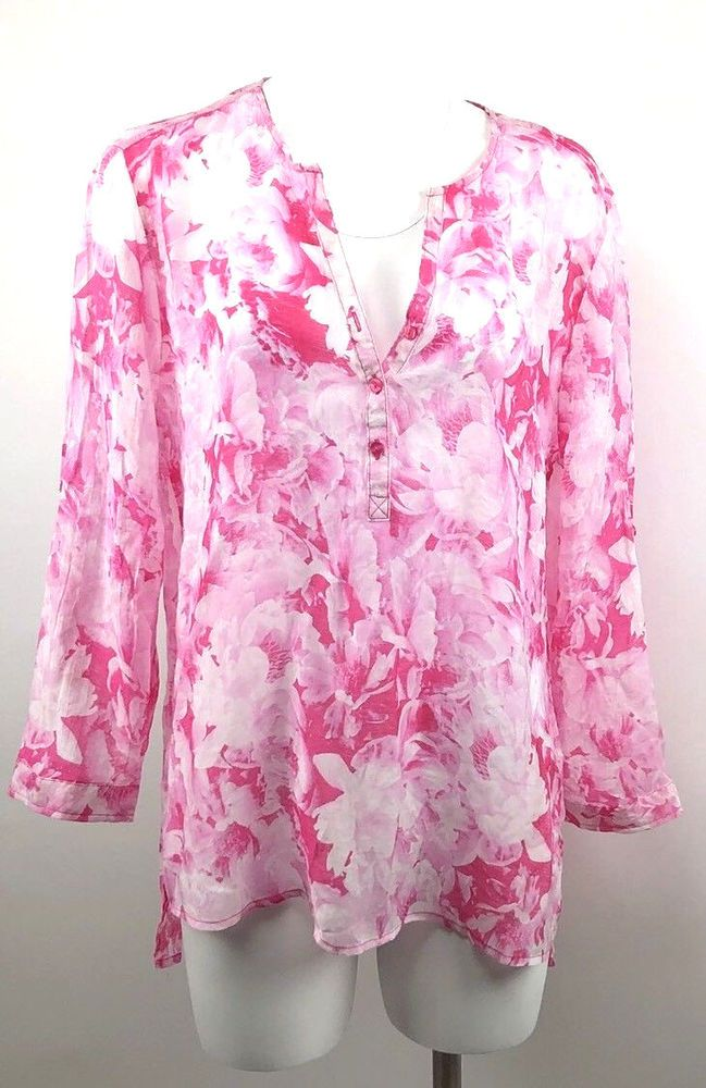 b83c6ef081b51 Grand   Greene XL Sheer Pink White Blouse Tunic Floral Top Roll Up Sleeve   GrandGreene  Blouse  Casual