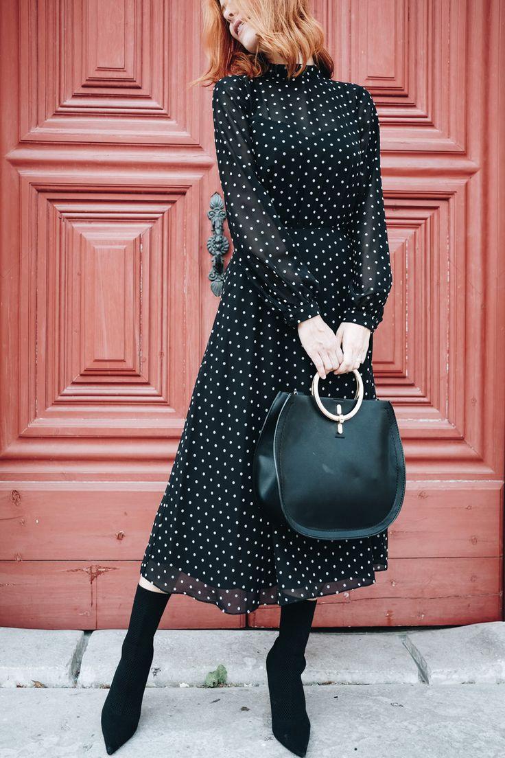 polkadot dress; midi dress; massimo dutti; how to style a dress for fall; aw17