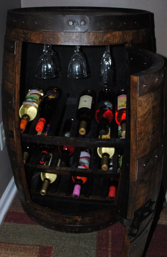 whiskey barrel wine rack cabinet. by BarrelWorx on Etsy