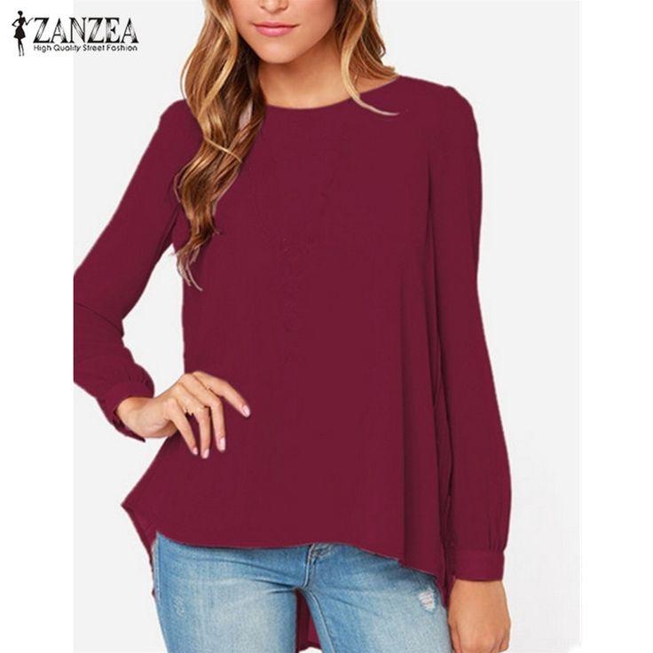 2017 Fashion Women Chiffon Blouses Casual Summer Shirt Camisa Blusas Femininas Long Sleeve Pleated Back Blouse Plus Size XS-5XL