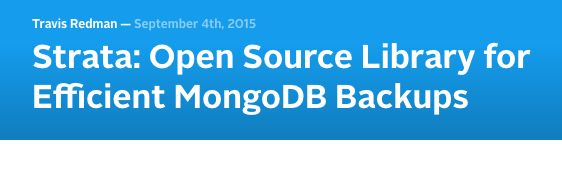 Strata: Open Source Library for Efficient MongoDB Backups
