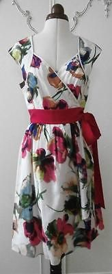 Ted baker #floral wrap-around cotton & silk tea #dress formal #summer #dress uk 12,  View more on the LINK: http://www.zeppy.io/product/gb/2/162207881179/