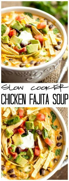 This Slow Cooker Chicken Fajita Soup takes 5 minutes to throw into the crockpot and will be the best and creamiest chicken fajita soup you will ever have! Click through for recipe!