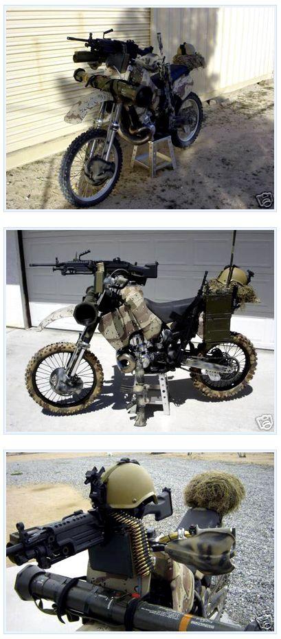 Machine gun not necessary, but dirt bike's a good bug-out idea.
