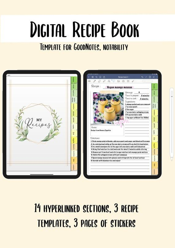 Digital Recipe Book Template For Goodnotes Notability Etc Etsy Digital Recipe Book Recipe Book Templates Book Template