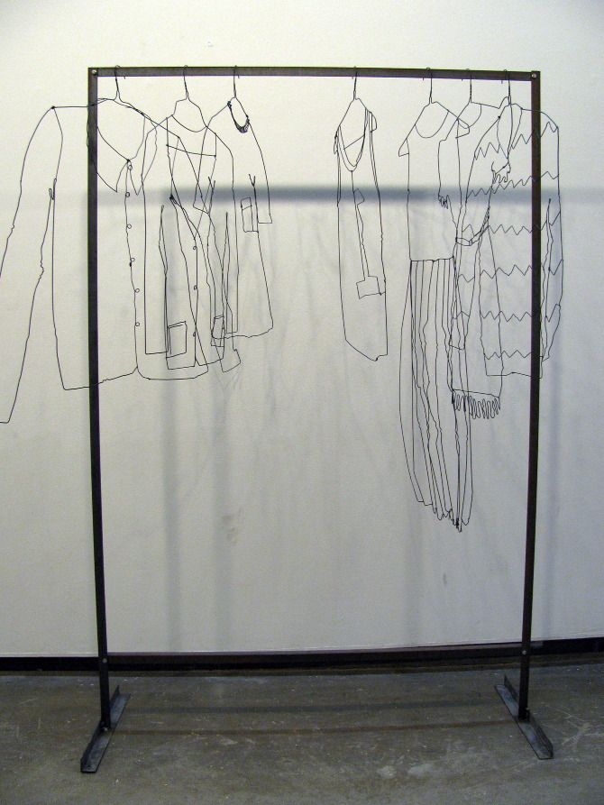 Suzanne Bonanno  Sculptor's Wardrobe - more inspiration for how wire framing domestic objects could look