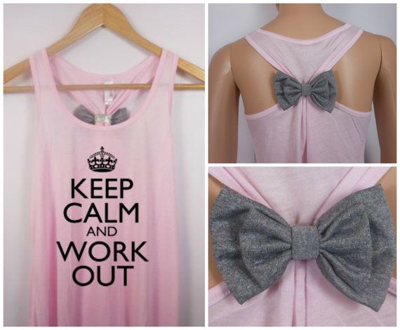 Other Bow Colors / Keep Calm and Work Out / Bow Tank Top / Workout Tank / Crossfit Tank Top / Gym Tank on Etsy, $24.95