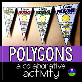 "Regular polygons. In this collaborative activity students find the interior and exterior angle measures of regular polygons, the sums of their interior angles, their names and their number of sides. Polygons range from 3 sides to 15 sides. All polygons with 13+ sides are named ""n-gon"" in the answer key (you can have your students use their real names if you'd like)."