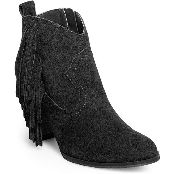 Steve Madden Women's Ohio Fringed Suede Ankle Boots ($55) ❤ liked on Polyvore featuring shoes, boots, ankle booties, black, black suede bootie, short black boots, fringe booties, steve madden booties and black fringe booties