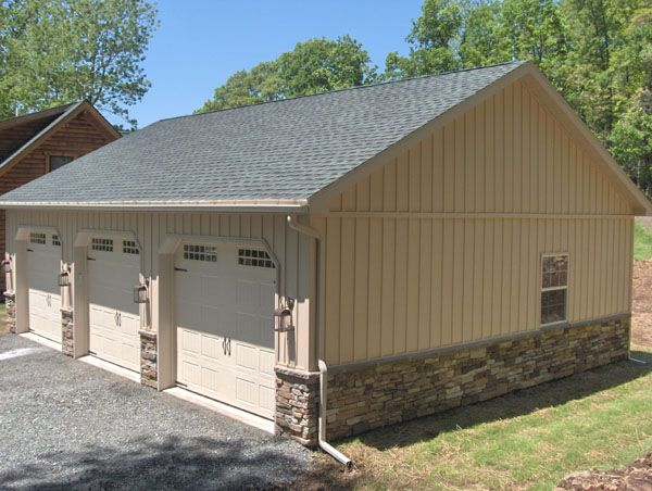 Pictures of stone veneer siding on metal buildings for Garage building ideas