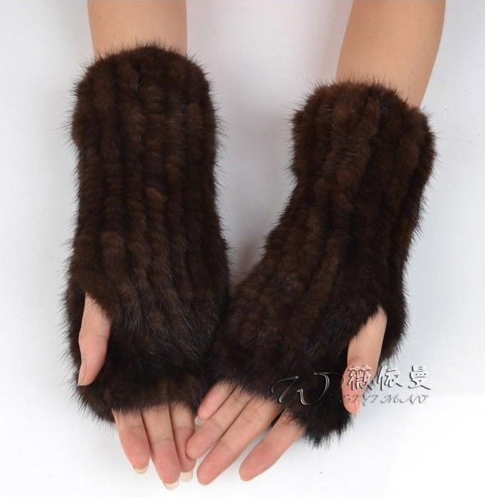 Real Knitted Mink Fur 2 Color Winter Mittens Gloves  B29  #no #Mittens