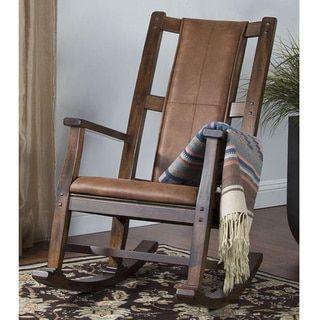 sunny designs santa fe birch hardwood tcushion seat and back rocker dark chcocolate rocker w cushion seat u0026 back brown faux leather wooden rocking