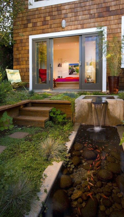 Intimate little garden off the bedroom ... sounds of falling water while you sleep.