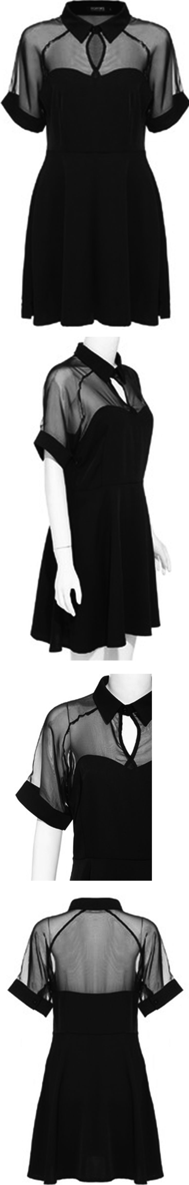 Romwe Little Black Dress, featuring a peak collar and short buttoned sleeves. The unique sweetheart shape will brighten you in any occassion.Click for shopping with 60% off 1st order!