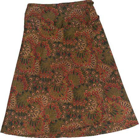 Wrap a round all cotton skirts, Indo print, green. www.marketique.com.au