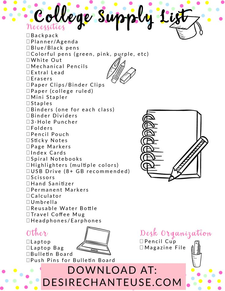 The Ultimate Supply Checklist for College Students (Includes Printable – school