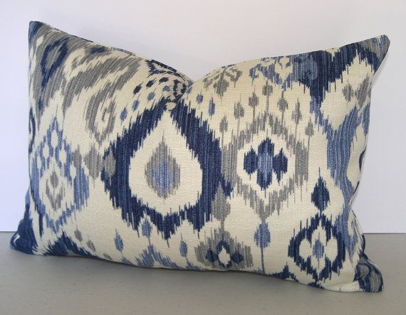 Blue Ikat Decorative Pillow Cover / Both Sides / Gunnison / Navy Blue / Light Blue / Grey and Ivory