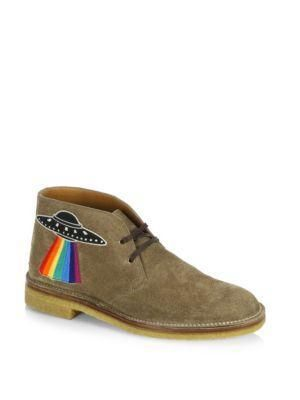 New Moreau Embroidered Suede Chukka Boots from Saks Fifth Avenue - Suede upper with Dragon & UFO embroidered appliques. Round toe. Lace-up vam