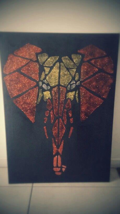 Easy Diy Geometric Art Elephant Glitter On Canvas