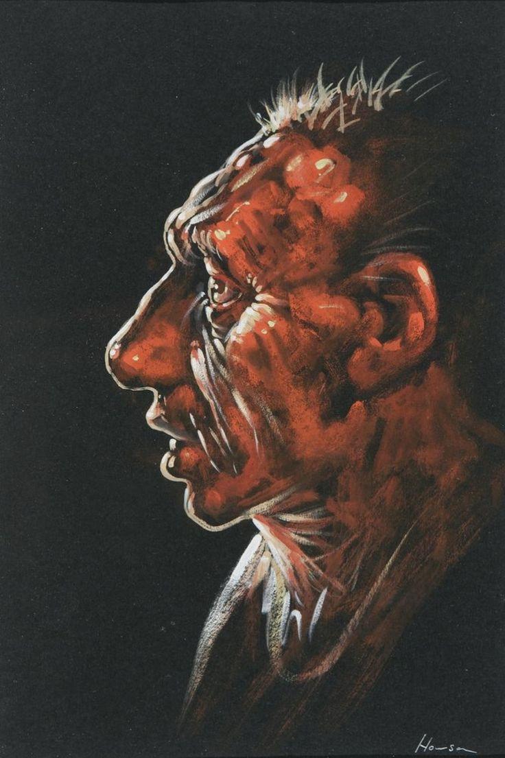 Peter Howson 'Bunhill I', 2005, 28.5x19cm, gouache and crayon.