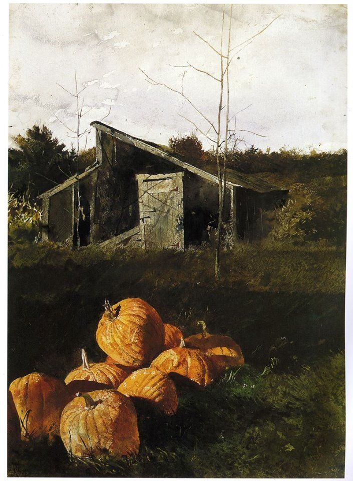 """This was executed at Erickson's house…He grew a lot of pumpkins. I painted a few pictures of pumpkins. But after I saw all the pumpkins that other people did, I stopped painting them…Imitators quickly take the charisma out of it."" ——  Andrew Wyeth (1917 — 2009, USA)  Pumpkins. 1969 watercolor on paper. © Andrew Wyeth"