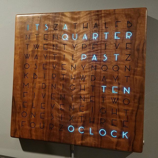 This beautifully-designed, wall-mounted wooden word clock will spell out the time for you. #arduino #arduinouno #wordclock #makers ( grahamvinyl / @imgur)