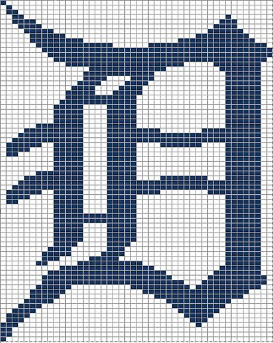 Detroit Tiger's Old English D pattern by Rachael Tomasino