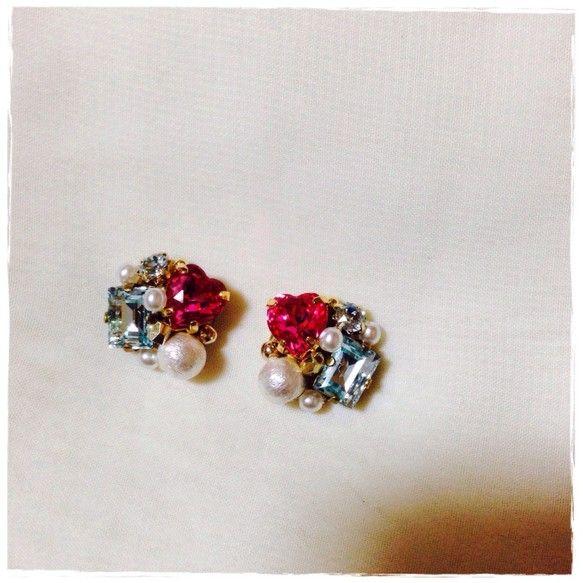pink heart × lightblue bijou♡ピアスorイヤリング|ririechat