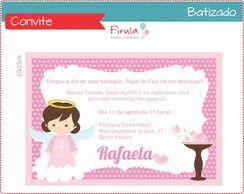 Convite Batizado Rosa para Meninas
