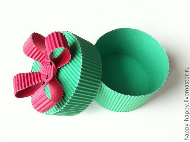 Здравствуйте, рада видеть вас на своем мастер-классе Для простой и красивой коробочки для подарка нам понадобится гофрированный картон двух цветов, клей 'момент' или аналогичный (ОЧЕНЬ важно, чтобы клей моментально склеивал), ножницы и всего-то 15-20 минут времени :) Чуть не забыла, еще понадобится любимая кружка (обычной круглой формы) :-) Диаметр кружки - это диаметр будущей коробочки.