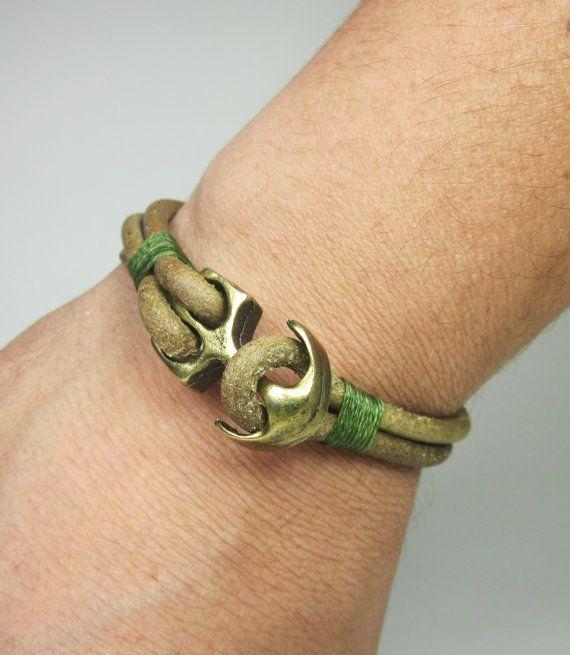 Pulsera de cuero de hombres, pulsera de cuero de los hombres, pulsera de cuero Natural con broche de bronce plateado ancla, cuerda verde pulsera de cuero