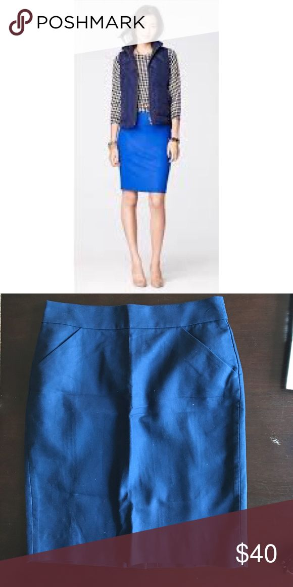 Navy blue Jcrew Pencil skirt Navy blue pencil skirt from Jcrew. Picture with model is not the same color, it is more navy blue. New with tags. J. Crew Skirts Pencil