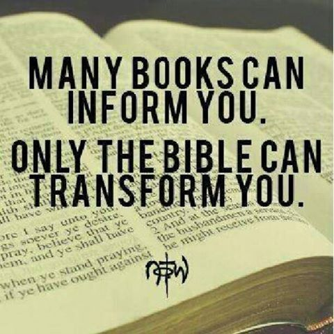 Many books can inform you, only the Bible can TRANSFORM you #Bible #Christianity #Christian #quotes